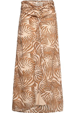 Scotch&Soda Organic Cotton Printed Skirt With Knot Detail Knælang Nederdel Brun