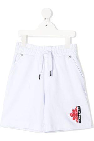 John Richmond Junior Logo-print drawstring shorts