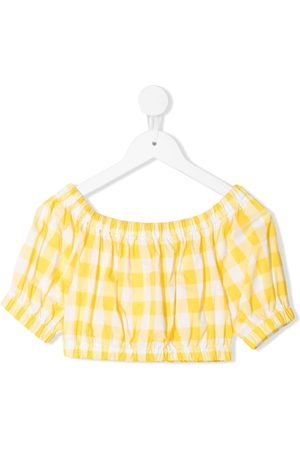 Piccola Ludo Piger Toppe - Gingham-gathered crop top