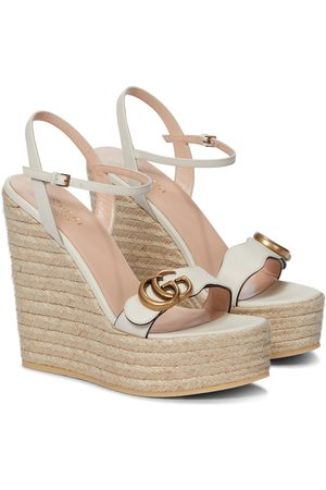 Gucci Kvinder Pumps sandaler - Double GG leather espadrille wedge sandals