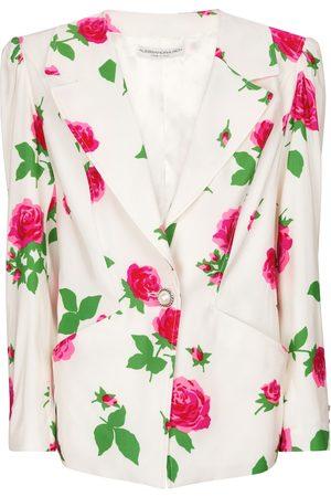 Alessandra Rich Floral faille blazer
