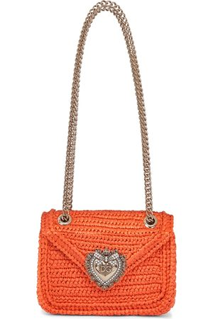 Dolce & Gabbana Devotion Small raffia shoulder bag