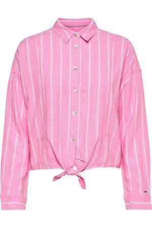 Tommy Hilfiger Kvinder Langærmede skjorter - Tjw Relaxed Front Knot Shirt Langærmet Skjorte Lyserød