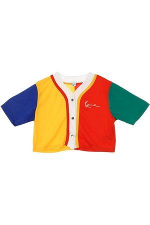 Karl Kani Piger Langærmede skjorter - CASACCA BOTTONI SMALL SIGNATURE BLOCK BASEBALL SHIRT