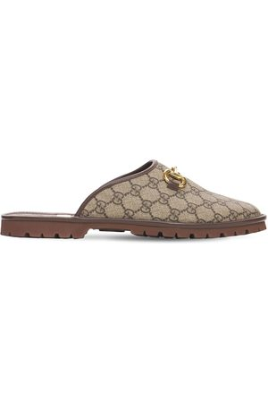 Gucci Horsebit Gg Supreme Canvas Slippers