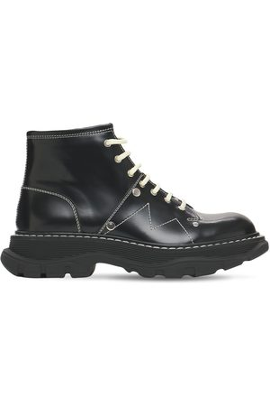 Alexander McQueen 40mm Tread Brushed Leather Combat Boots