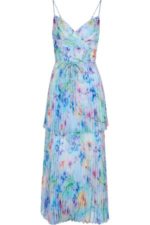 Marchesa Notte Floral pleated chiffon gown