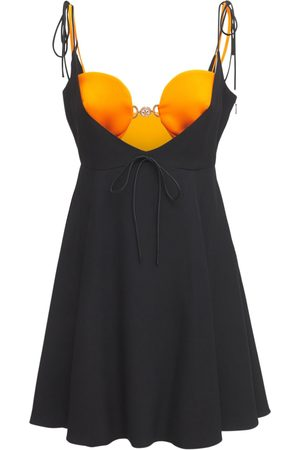 VERSACE Sleeveless Acetate Satin Mini Dress