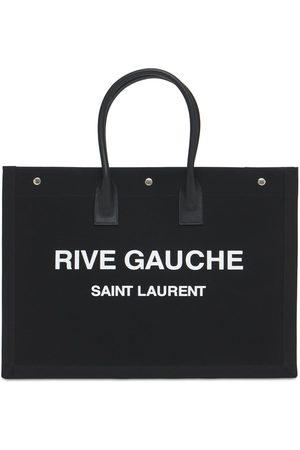 Saint Laurent Kvinder Tasker - Noe Linen & Leather Top Handle Bag