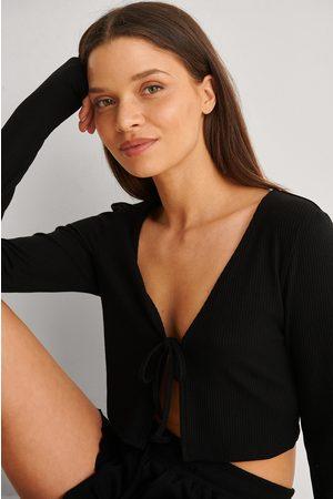 NA-KD Kvinder Toppe - Ribbet Fritidstop Af Genanvendt Materiale Med Binding Foran