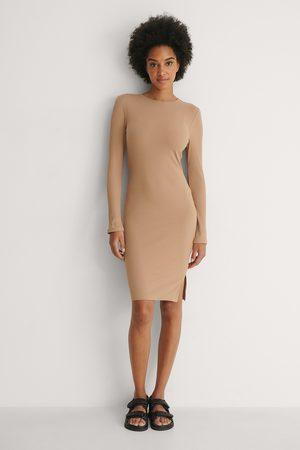 NA-KD Kvinder Casual kjoler - Ribbed Long Sleeve Dress
