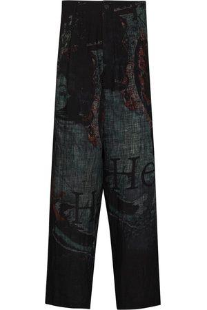 Yohji Yamamoto Mænd Kassebukser - Printed wide-leg trousers