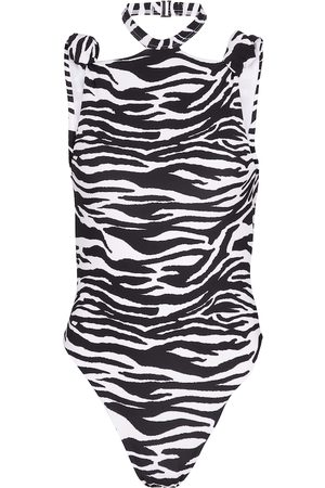 The Attico Halterneck zebra-print swimsuit