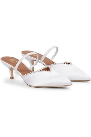 MALONE SOULIERS Marla 45 faux pearl-trimmed satin mules