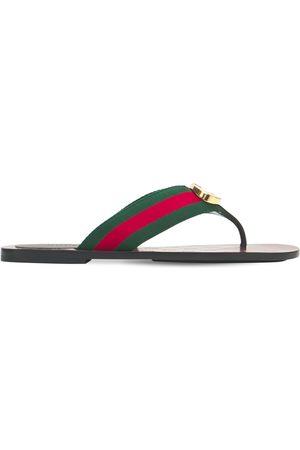 Gucci 10mm Gg Web Thong Sandals