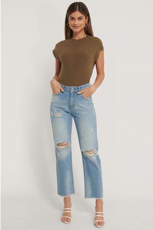 NA-KD Kvinder Straight - Hullede Højtaljede Lige Jeans
