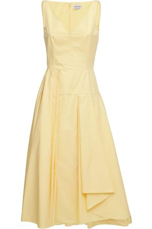 Alexander McQueen Asymmetrical Cotton Poplin Midi Dress