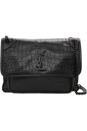 Saint Laurent Medium Niki Croc Embossed Leather Bag