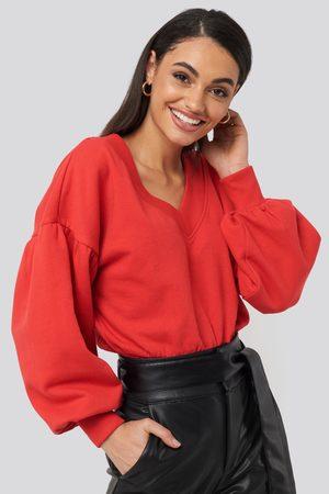 NA-KD Kvinder Sweatshirts - Puff Sleeve V-neck Sweatshirt