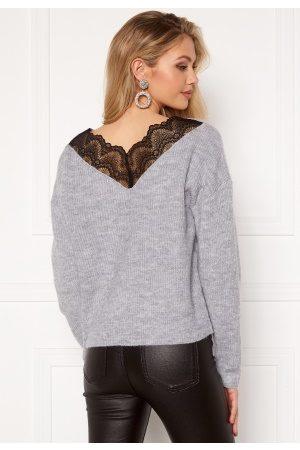 VILA Kvinder Strik - Lala Lace Knit Top Light Grey Melange M