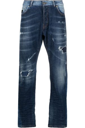 John Richmond Mænd Straight - Mick jeans med lige ben og slitageeffekt