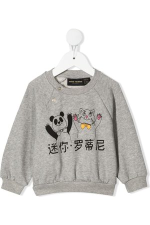 Mini Rodini Sweatshirt med panda- og kattetryk