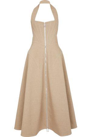 Bottega Veneta Kvinder Halterneckkjoler - Halterneck stretch-linen maxi dress