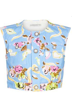 Alessandra Rich Floral cotton gabardine crop top