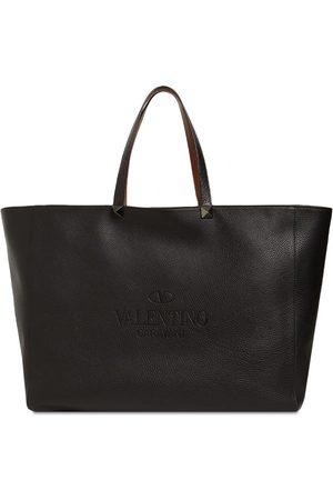 VALENTINO GARAVANI Logo Reversible Leather Tote Bag