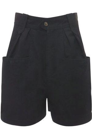 Isabel Marant Palinoa Pleated Cotton Shorts