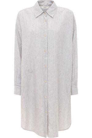 Isabel Marant Seen Striped Poplin Draped Mini Dress