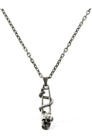 Alexander McQueen Safety Pin & Skull Long Necklace