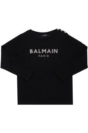 Balmain Embellished L/s Organic Cotton T-shirt