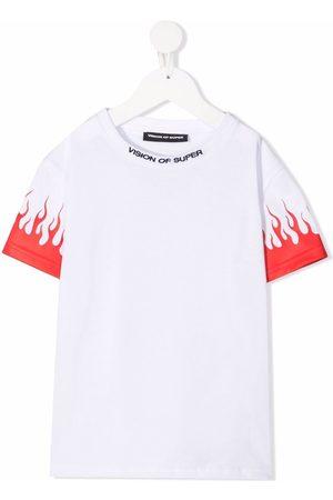 Vision Of Super Drenge Kortærmede - Flame-print cotton T-shirt