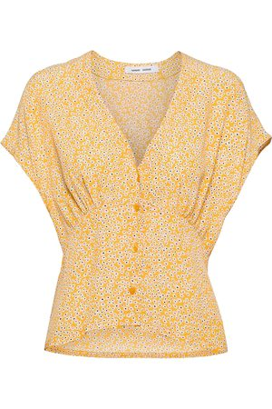 Samsøe Samsøe Kvinder Toppe - Valerie Top Aop 10867 Blouses Short-sleeved Gul
