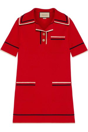 Gucci Kvinder Strikkede kjoler - Fine cotton knit polo dress