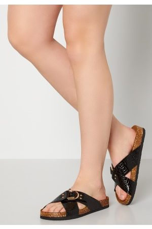 ONLY Maxi PU Croc Crossover Sandal Black 38
