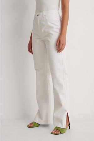NA-KD Kvinder Straight - Højtaljede Jeans Med Lige Ben Og Sideslids