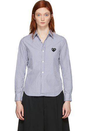 Comme des Garçons Blue & White Striped Heart Patch Shirt