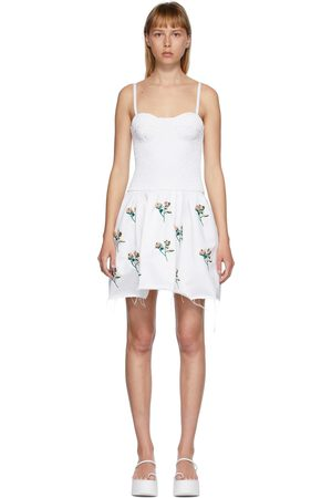 Marina Moscone Embroidered Smocked Bustier Tunic Dress