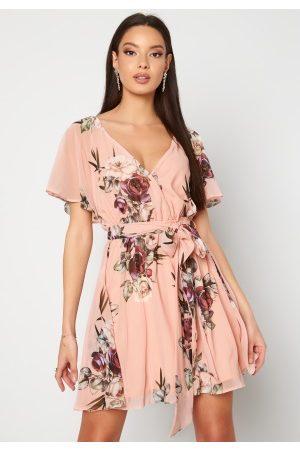 Goddiva Floral Flutter Dress Peach XS (UK8)