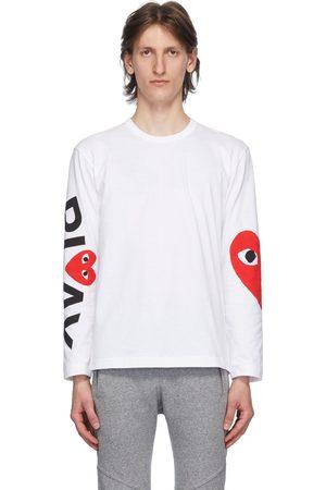Comme des Garçons White Big Heart Long Sleeve T-Shirt