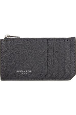 Saint Laurent Grey Fragment Zipped Card Holder