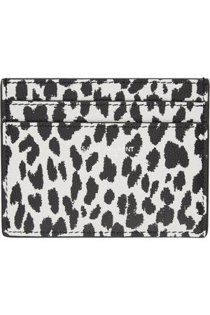 Saint Laurent Black & White Leopard Print Card Holder