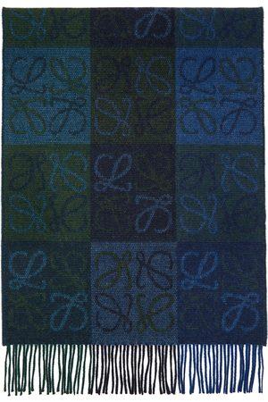 Loewe Navy & Green Wool Anagram Scarf