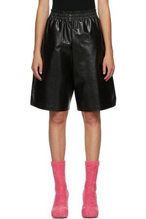 Bottega Veneta Black Leather Shiny Shorts