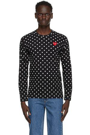 Comme des Garçons Black Polka Dot Heart Patch Long Sleeve T-Shirt