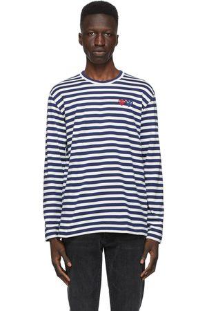 Comme des Garçons Navy & White Striped Double Heart Long Sleeve T-Shirt