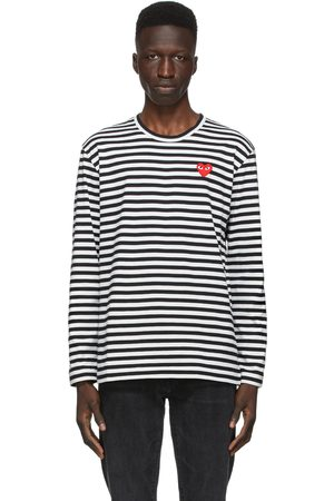 Comme des Garçons Black & White Striped Heart Patch Long Sleeve T-Shirt