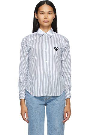 Comme des Garçons White & Blue Striped Heart Patch Shirt